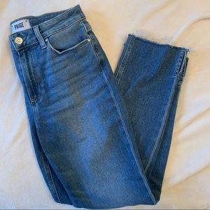 Cindy Split Raw Hem Straight Leg Jeans In Tilley